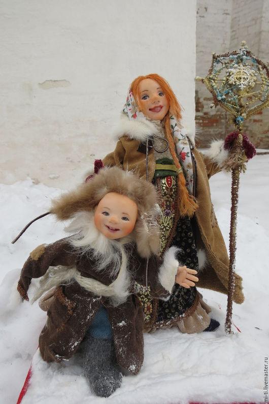 Коллекционные куклы ручной работы. Ярмарка Мастеров - ручная работа. Купить композиция НА СВЯТКИ. Handmade. Рождество, интерьерная кукла