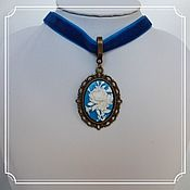 Субкультуры handmade. Livemaster - original item Choker with cameo (rose, background - blue) on a blue ribbon. Handmade.