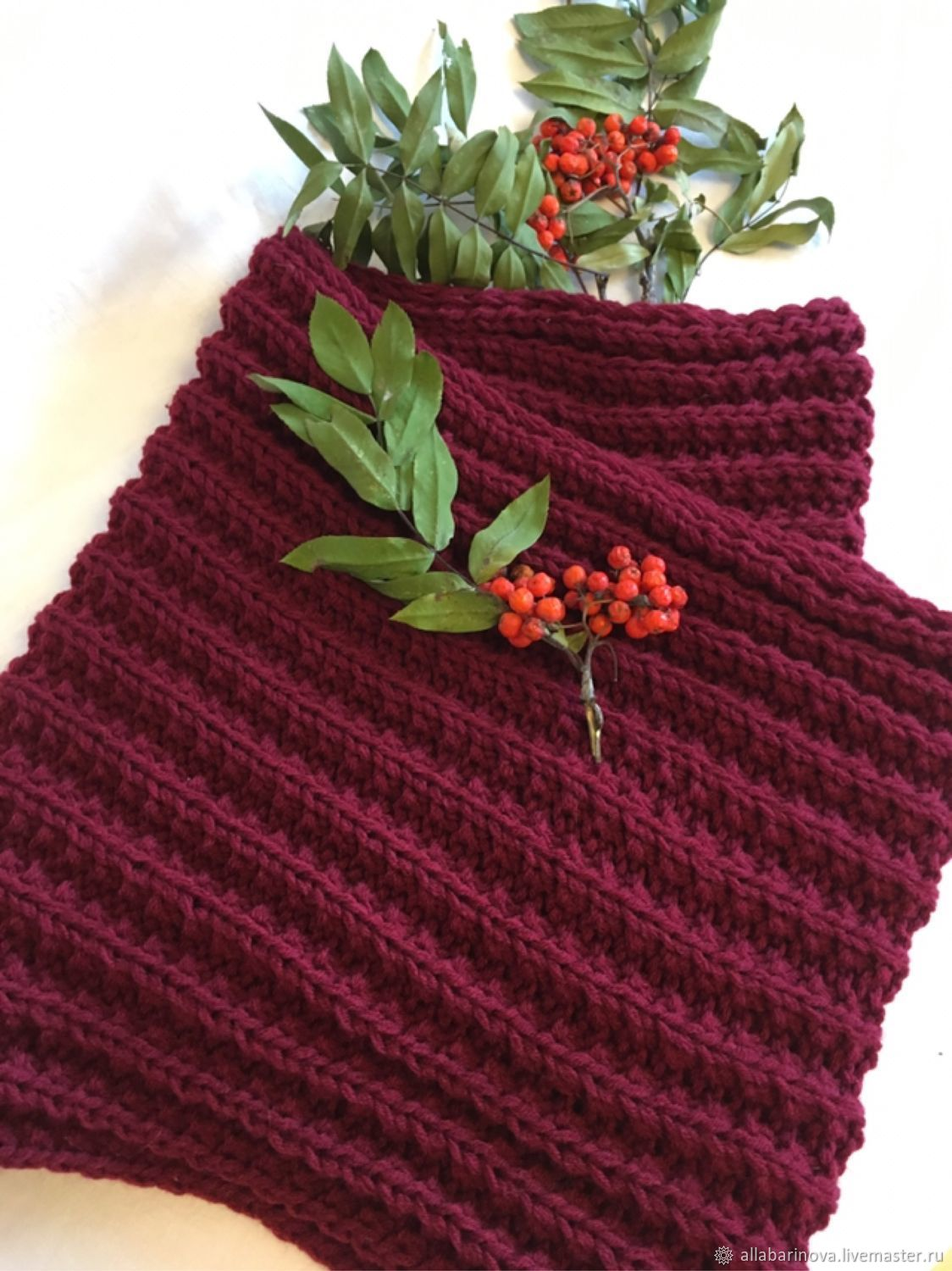 Scarf-Snood Burgundy color in two turns, Snudy1, Moscow,  Фото №1