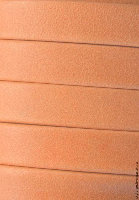 Для украшений ручной работы. Ярмарка Мастеров - ручная работа. Купить Кожаный шнур плоский 10x2 мм Denver, персиковый. Handmade.