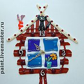 Для дома и интерьера handmade. Livemaster - original item Wall clock Hut on chicken legs, fusing. Handmade.