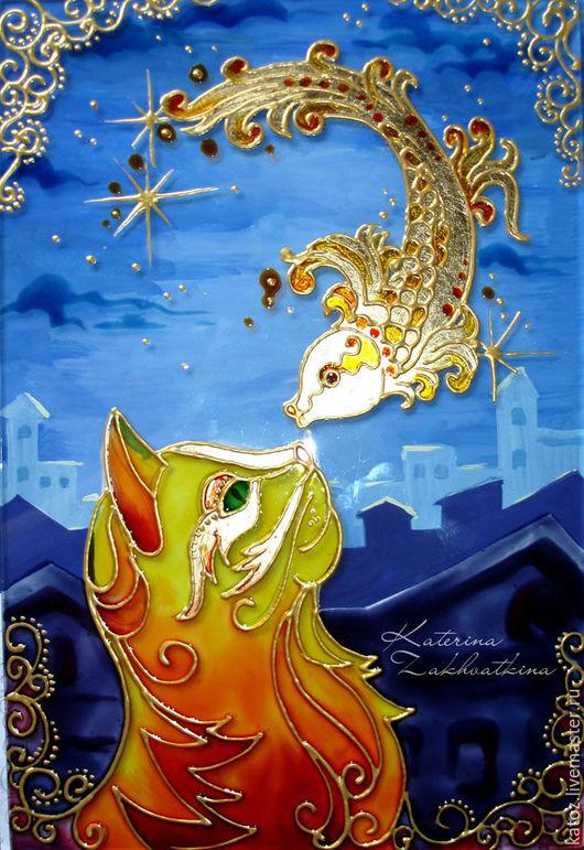 """Фантазийные сюжеты ручной работы. Ярмарка Мастеров - ручная работа. Купить Картина на стекле """"Ночной разговор"""". Handmade. Комбинированный"""