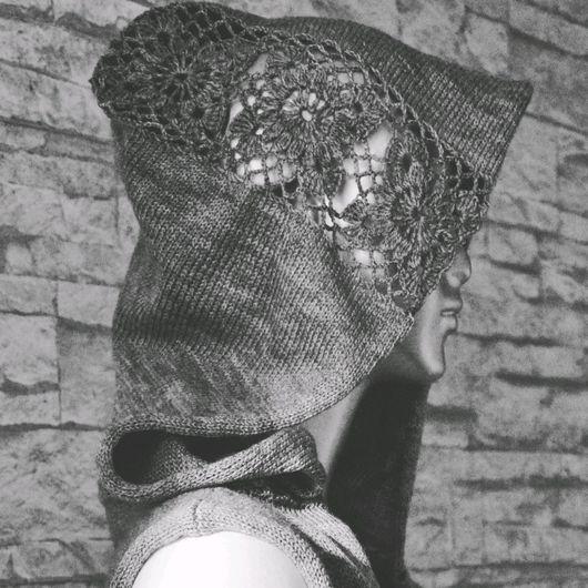 """Кофты и свитера ручной работы. Ярмарка Мастеров - ручная работа. Купить Накидка """"Меланж"""". Handmade. Серый, накидка с капюшоном"""