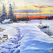 Картины и панно handmade. Livemaster - original item Oil painting Landscape _ Winter stuga. Handmade.