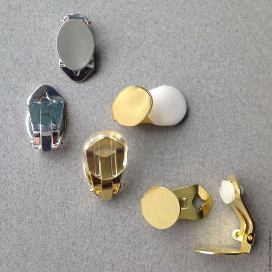 Овальные латунные клипсы слева направо или сверху вниз: - посеребренные - позолоченные - без покрытия