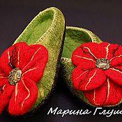 """Обувь ручной работы. Ярмарка Мастеров - ручная работа Валяные тапочки """"Цветущий мак"""". Handmade."""