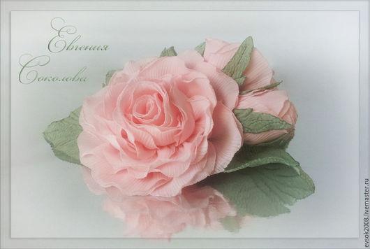 Броши ручной работы. Ярмарка Мастеров - ручная работа. Купить Брошь. Розовые розы.. Handmade. Бледно-розовый, розовые розы