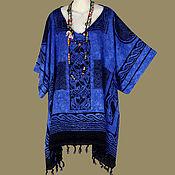 Одежда ручной работы. Ярмарка Мастеров - ручная работа Кельтский мотив Калдунья синяя туника платье, батик, свободный. Handmade.