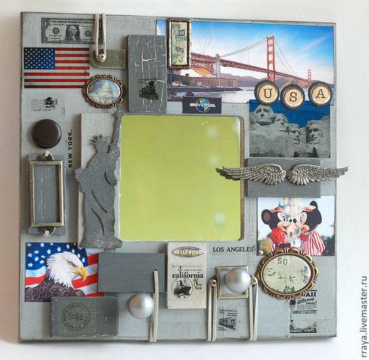 """Зеркала ручной работы. Ярмарка Мастеров - ручная работа. Купить Зеркало-ключница """"Америка"""". Handmade. Зеркало, серый, нью-йорк"""