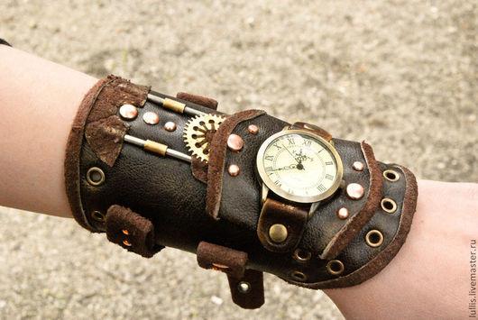 Часы ручной работы. Ярмарка Мастеров - ручная работа. Купить Наручные часы, стимпанк. Handmade. Коричневый, стимпанк, часы