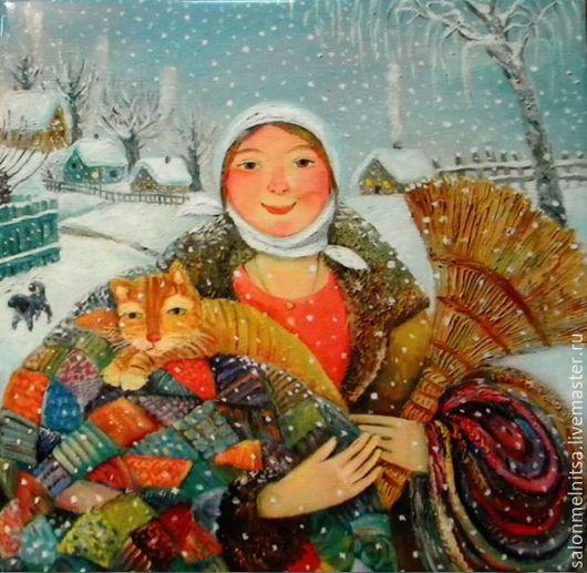 Репродукции ручной работы. Ярмарка Мастеров - ручная работа. Купить Предпраздничный снег. Handmade. Подарок на любой случай, настенное панно