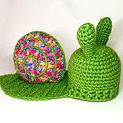 Работы для детей, ручной работы. Ярмарка Мастеров - ручная работа Улитка для фотосессии новорожденных Шапочка для новорожденного зеленый. Handmade.