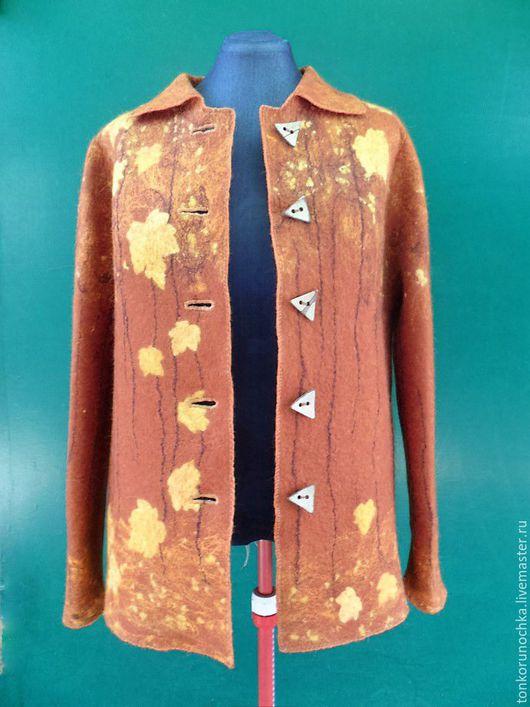 """Верхняя одежда ручной работы. Ярмарка Мастеров - ручная работа. Купить Валяное пальто """"Золотой листопад"""". Handmade. Оранжевый"""