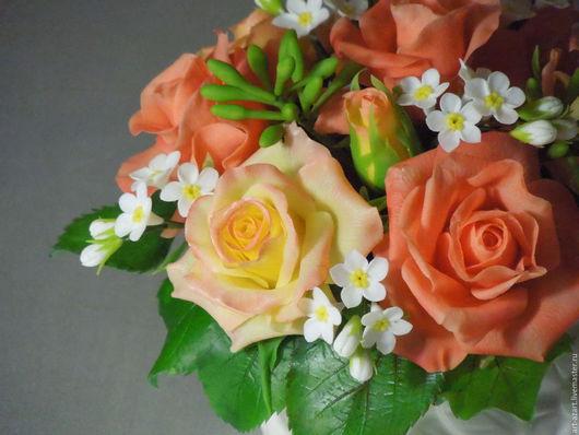 Цветы ручной работы. Ярмарка Мастеров - ручная работа. Купить Букет с коралловыми розами из полимерной глины.. Handmade. Коралловый