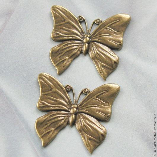 Для украшений ручной работы. Ярмарка Мастеров - ручная работа. Купить Штамп Бабочка, античная латунь. Handmade. Латунь