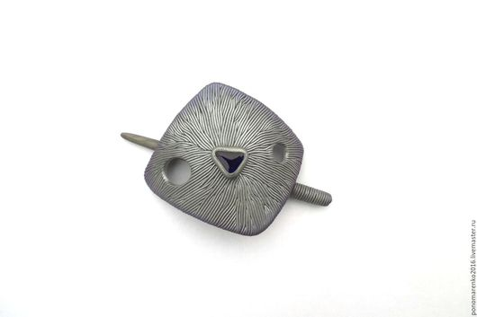 фибула купить, серебристая заколка, заколка для шали, заколка для вязаных вещей