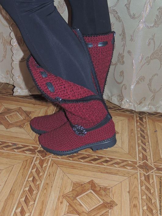 Обувь ручной работы. Ярмарка Мастеров - ручная работа. Купить Сапожки осень-весна, БОРДО. Handmade. Обувь для улицы
