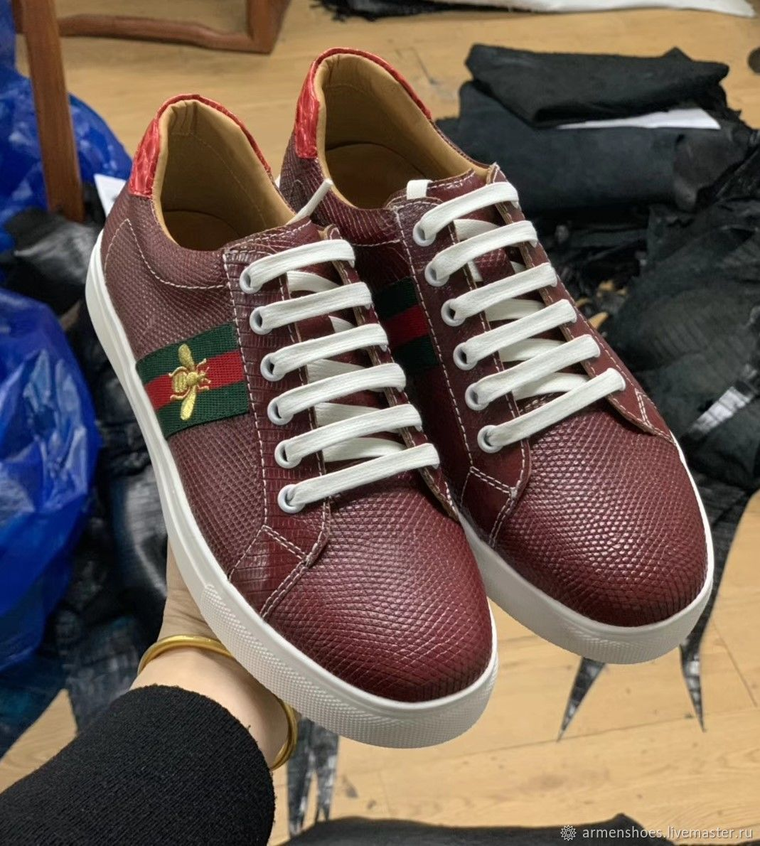 Sneakers made of genuine lizard (iguana) leather, in maroon color!, Training shoes, Tosno,  Фото №1