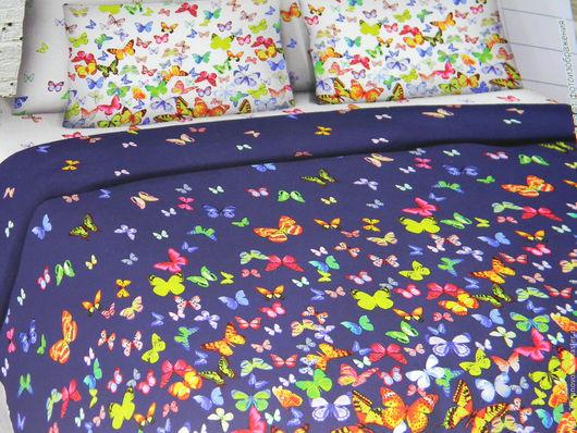 """Текстиль, ковры ручной работы. Ярмарка Мастеров - ручная работа. Купить Комплект постельного белья из бязи """"Бабочки летают"""". Handmade."""