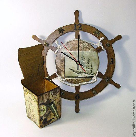 """Часы для дома ручной работы. Ярмарка Мастеров - ручная работа. Купить Часы и карандашница """"Воспоминания о путешествиях"""". Handmade. Часы, штурвал"""