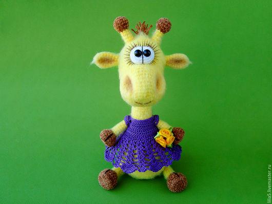 Игрушки животные, ручной работы. Ярмарка Мастеров - ручная работа. Купить Жирафик в платьице. Handmade. Желтый, вязаный жираф
