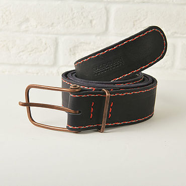 Accessories handmade. Livemaster - original item Genuine leather belt with copper buckle. Handmade.