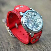"""Украшения ручной работы. Ярмарка Мастеров - ручная работа Красные женские часы-браслет """"Red Belts"""". Handmade."""