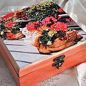 Для дома и интерьера ручной работы. Ярмарка Мастеров - ручная работа Шкатулка Прятки в цветах. Handmade.