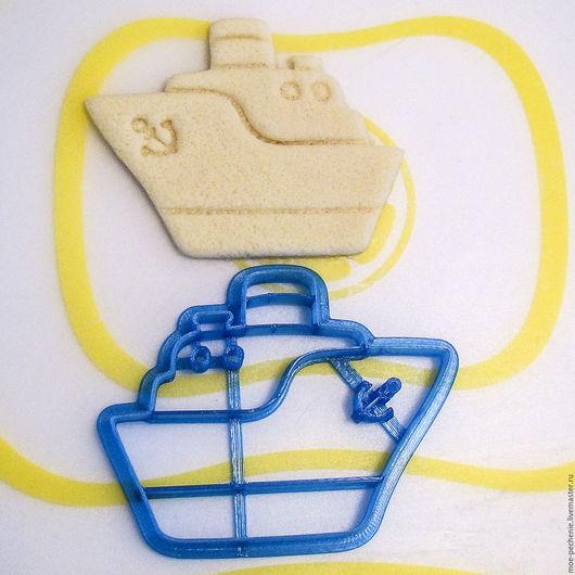 Пароходик. Вырубка-штамп для пряников, печенья, мастики, поделок из соленого теста. Образец оттиска на соленом тесте.