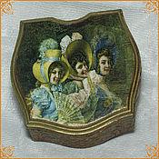 """Сувениры и подарки handmade. Livemaster - original item Shaped Box """"Three Roses walk on Versailles"""",. Handmade."""
