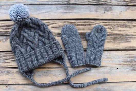 Шапки и шарфы ручной работы. Ярмарка Мастеров - ручная работа. Купить Детский комплект шапка и варежки. Handmade. Серый
