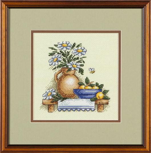 """Натюрморт ручной работы. Ярмарка Мастеров - ручная работа. Купить """"Ромашки"""". Handmade. Оливковый, фрукты, деревенский стиль, Вышивка крестом"""