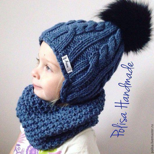 Шапки и шарфы ручной работы. Ярмарка Мастеров - ручная работа. Купить Детская шапка  с помпоном + снуд. Handmade. помпон