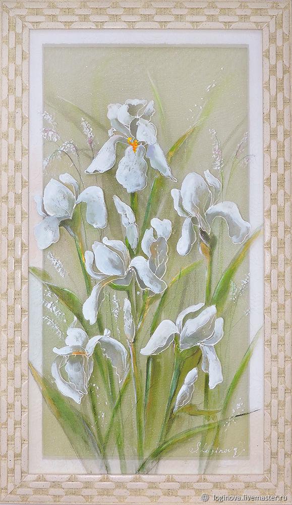 Картина с ирисами, белая картина, картина над диваном, Картины, Находка,  Фото №1