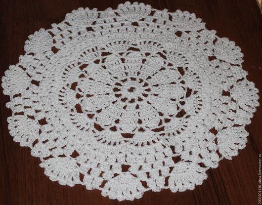 Текстиль, ковры ручной работы. Ярмарка Мастеров - ручная работа. Купить Круглая,ажурная салфетка связана крючком. Handmade. Белый