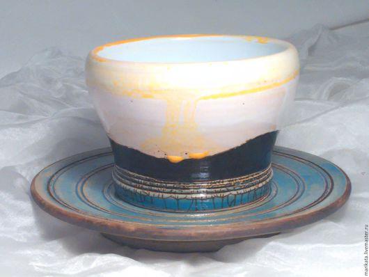 """Сервизы, чайные пары ручной работы. Ярмарка Мастеров - ручная работа. Купить """"Восход над холмами"""", керамика, кофейная чашка.. Handmade."""