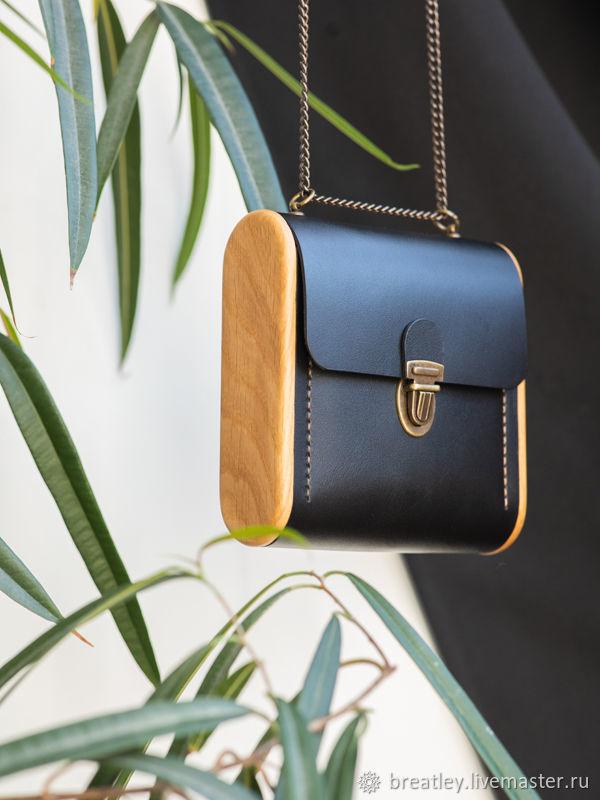 Genuine leather handbag-CAPE BRETON-black handbag with wood, Crossbody bag, Moscow,  Фото №1