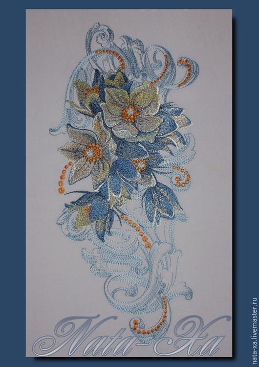 """Вышивка ручной работы. Ярмарка Мастеров - ручная работа. Купить Цветок """"ДЕНИМ"""". Handmade. Разноцветный, embroedery, программа"""