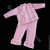 Работы для детей, ручной работы. Ярмарка Мастеров - ручная работа Комплект  для девочки вязанный Цветы. Handmade.