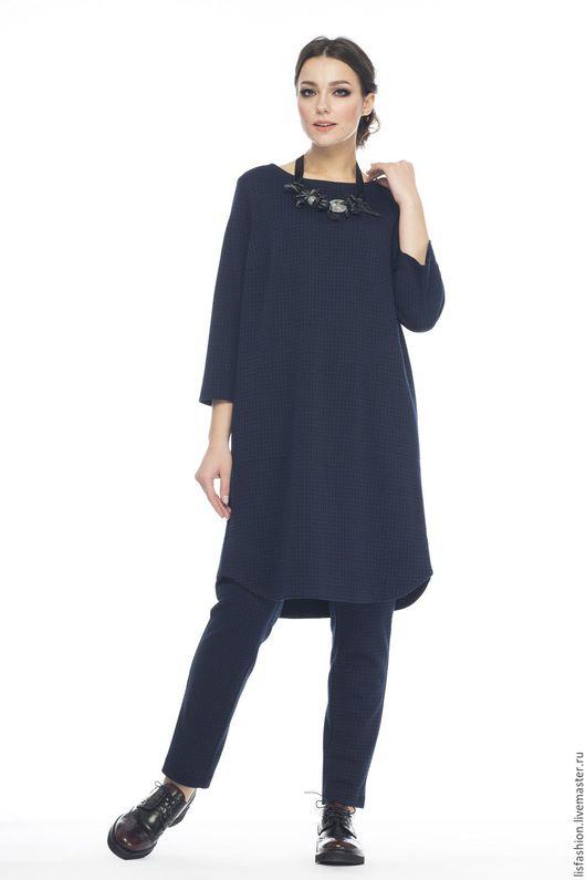Платья ручной работы. Ярмарка Мастеров - ручная работа. Купить Платье-туника 1602S. Handmade. Тёмно-синий, платье-туника