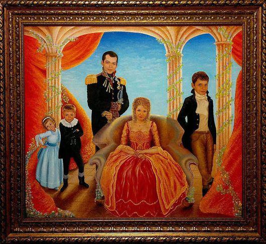 Люди, ручной работы. Ярмарка Мастеров - ручная работа. Купить Семейный портрет в индивидуальном стиле. Холст, масло.. Handmade. Живопись