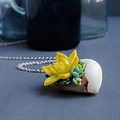 Украшения handmade. Livemaster - original item Shell pendant with succulents on a steel chain, 4,3h3 cm. Handmade.