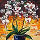 Картины цветов ручной работы. Ярмарка Мастеров - ручная работа. Купить Белые орхидеи. Handmade. Орхидеи, синий, белые орхидеи