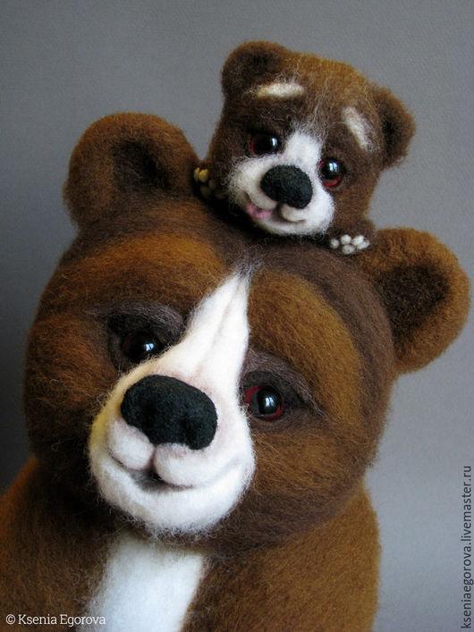 Игрушки животные, ручной работы. Ярмарка Мастеров - ручная работа. Купить Медведица с медвежонком 2.Валяная игрушка из шерсти.Мама и малыш.. Handmade.