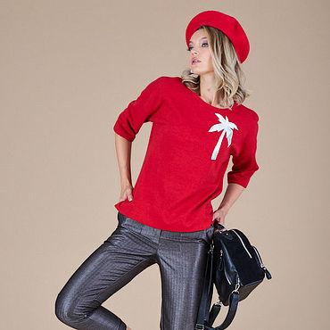 Одежда ручной работы. Ярмарка Мастеров - ручная работа Красный джемпер с аппликацией 49903. Handmade.