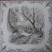 Картины ручной работы. Ярмарка Мастеров - ручная работа Плитки с монохромными пейзажами. Handmade.