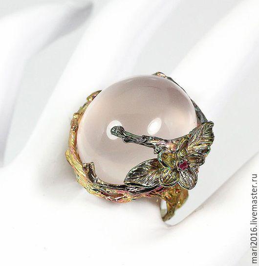 """Кольца ручной работы. Ярмарка Мастеров - ручная работа. Купить Кольцо """" Столкновение времен"""". Handmade. Розовый, кольцо с кварцем"""