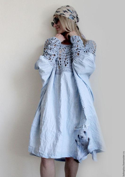 """Платья ручной работы. Ярмарка Мастеров - ручная работа. Купить Платье из тонкого льна """"Стефания"""". Handmade. Голубой, бохо-стиль"""