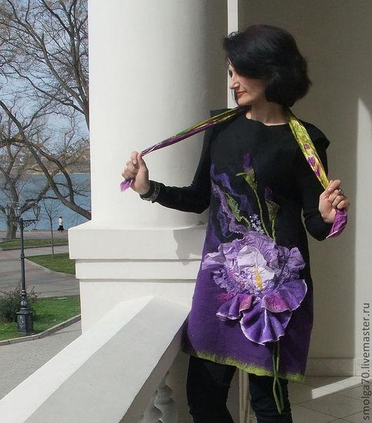 """Платья ручной работы. Ярмарка Мастеров - ручная работа. Купить туника """"Mon Iris"""". Handmade. Тёмно-фиолетовый, шёлк натуральный"""