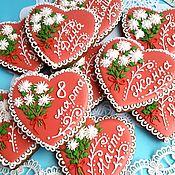 Сувениры и подарки handmade. Livemaster - original item Gingerbread heart. Valentine with chrysanthemums. Gingerbread card.. Handmade.